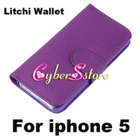 Wholesale Fashion Litchi Wallet PU Flip Leather Case Cover With Credit Card Slot Slots Pouch Stand For iPhone S