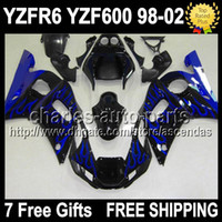 7gifts Blue flames black For YAMAHA YZF- R6 98- 02 YZFR6 YZF R...