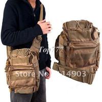 Wholesale Multi functional Nylon Fabrics Waterproof Outdoor Military Saddlebag Day Pack for Travel Camping Hiking Tan HBG