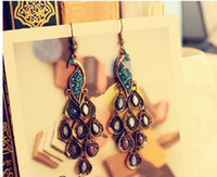 Wholesale Hot Sale Court Vintage Style Peacock Earrings Diamond Earrings Hanging Earrings pairs