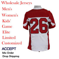 Men Short Polyester Wholesale Cheap American football Jerseys,26 Beanie Wells,White Red,Elite Jerseys,Size 40-56,Allow mix order,Free Shipping.
