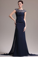 Wholesale 2015 Sexy New Cap Sleeves Dark Navy Blue Chiffon Mermaid Evening Dresses Lace Applique Beaded Ruffles Mother Of The Bride Gown ED843