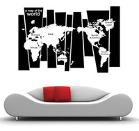 Graphic vinyl bedroom decore - 5pcs A Map Of World World Map Wall Stickers Decal World Maps Wall Mural Art Home Decore
