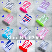 Wholesale Baby Girls Chevron Leg Warmers With Cotton Ruffle Zig Zag Kids Pink Ruffle Leggings Toddler Knee Pads Colors
