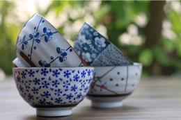 Wholesale Vintage Hand Painted Japanese Porcelain Rice Bowl Plum Blossom Design inch Bowl Set of