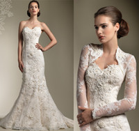 Sweetheart beautiful bridal dress - 2015 Beautiful Three dimensional Flower Lace Wedding Dresses Tulle applique Bridal Gown Free jacket Long Jacket