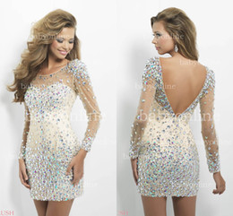 Wholesale 2014 Hot Sexy Sheath Homecoming Dresses Crew Sheer Neckline Long Sleeves Crystals Sequins Beaded Backless Mini Short Cocktail Dresses C128