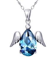 Wholesale Natural blue topaz pendant silver plated k white gold DH