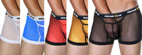 Men Boxers & Boy Shorts Sexy 10PCS Mens Man Male Boys Transparent See Through Sexy Underwear Boxer Brief Low Rise Bulge Pouch Boxers Briefs Trunks Lingerie M L XL 5Color