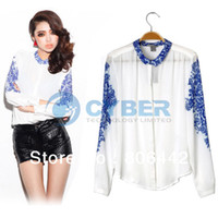 Wholesale 2013 Women s Chinese Style Blue And White Porcelain Vintage Print Chiffon Shirt Long Sleeve Aoaoi