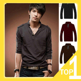 Wholesale 2013 NEW Men s T shirts Slim Fit Color Stylish V Neck Long Sleeve T shirts fashion shirt tops Y2650 Aoaoi