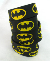 Wholesale New PC BATMAN Wristband Silicone Promotion Gift Filled in Color Bracelet Black