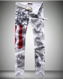 Wholesale High End Men s Jeans Individual Printed Denim Trousers New Fashion Men s Jeans Washing Flag Coloured Jeans