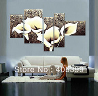 Wholesale Pieces Large Handmade Modern Thick Texture Canvas Oil Painting Wall Art Love Art Calla Lily JYJ006