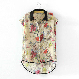Wholesale SHIRT WOMEN CONTRAST TRIM FLORAL PRINTS DIPPED HEM CHIFFON TOP MULTICOLOR S