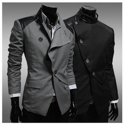 Wholesale 2014 England Style Business Men s Blazer Patchwork Leather Inclined Button New Brand Designer Slim Fit Men Blazer Suits JK19