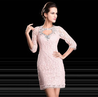 Cheap 2014 New Arrival Actual Pictures Crystal Beaded Sexy Keyhole Three Quarter Sleeves Hollow Lace Short Cocktail Prom Dresses