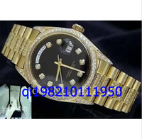 Luxury Men's Mechanical Automatic wholesale- Mens 18k Yellow Gold Super President Diamond 1803 Sapphire Glass Box File watches Original Box File