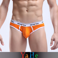 Wholesale Hot Sexy Men s Shorts Underwear Pouch Brief Underwear Men Sheer Underwear Thong Cotton Gays Sexy Underwear For Men YAHE Brand MU1003A