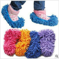 Wholesale 1 pair Chenille mop the floor dedicated foot set lazy man to slippers shoe covers can unpick and wash mop head double sale