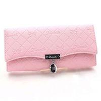 Wholesale Handy Classical PU Leather Button Clutch Purse Lady Long Handbag Women Wallet
