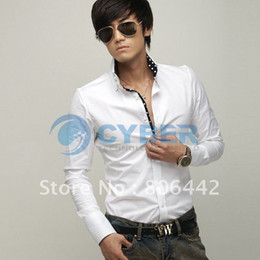 Wholesale Holiday Sale Fashion Casual Slim Fit Stylish Hot Men dress Shirts Long Sleeve White M L XL Aoaoi