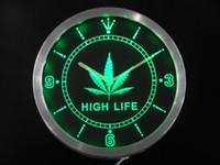 Wholesale nc0192 Marijuana Hemp Leaf High Life Bar Beer Neon Sign LED Wall Clock