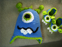 Unisex adult baby booties - Crochet Newborn Photography hat booties monster hat baby monster booties slippers baby shoes and infant to adult monster hat