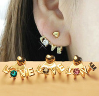Wholesale Hot Crystal Love Letter Heart Ear Cuff Stud Earring Korea Style Fashion Gold Metal Charm pair