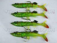 Soft Baits Zhejiang China (Mainland) Artificial Bait Promotion!! 4X 140mm 18g Green Lead Pike Rigged Plastic Swimbaits Fishhook Soft Lure
