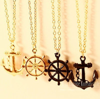 Wholesale Rudder Anchor Pendant Long Necklaces Womens Mens Plated Gold Chains Charm Necklace Fashion Jewelry