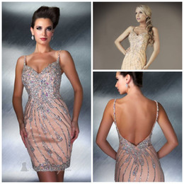 Wholesale Luxurious Sexy Spagetti Beaded Mini Cocktail Party Dresses Sweetheart Shinning Sequined Sheath Short Skirt Cocktail Dress