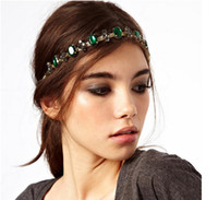 Wholesale F New In Europe Style Gold Plated Metal Chain Green Crystal Rhinestone Flower Gem Hair Bands Adjustable