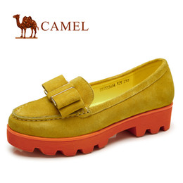 Wholesale camel camel shoes new non slip shoes cowhide sweet bow casual comfort shoes