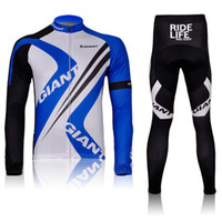 Wholesale 2012 blue and white giant winter thermal cycling long sleeve jersey and pants cycling wear racing set Ciclismo MAILLOT