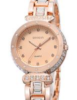 Antique antique diamond watches - Rose Gold Diamond bezel High quality women watch Luxury sports Brand Silver Lady s Quartz Wristwatches Stainless steel Women s Watches