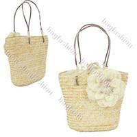 Wholesale Ladies bags camellia handbags with flowers Sweet Straw Beach bag Tote Shoulder designer bag