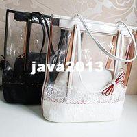 Wholesale New Style lace transparent bag bag one set candy bow shoulder bag beach bag crystal bag