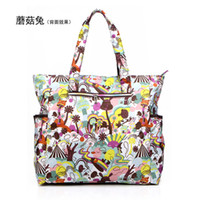 Wholesale Flower waterproof nylon plus size cotton prints handbag fashion shoulder bag beach bag nappy women s handbag