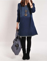 Casual Dresses Round Knee Length Free postage new fall fashion large size gradient color long sleeve dress casual jeans