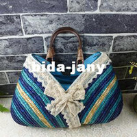 other clam - Women straw bag tote beach bag rattan lace decoration sea clams blue
