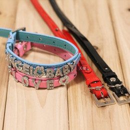 Wholesale Leather Belt Dog Collar - Free shipping! 12pcs ,PU Leather pet dog collar,S M L,with short belt fit 8mm DIY charms,the price not include charms