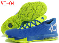 Wholesale Fast Delivery Men Basketball Shoes Durant Sports Boots Brand Name KD VI Low Sneakers Basket Ball Sneakers Lime Blue With White Cheap On Sale