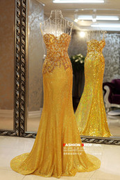 Sexy Luxurious Sweetheart Evening Gown Beads Sequins Appliques Sweep Train Mermaid Prom Dresses Evening Dresses