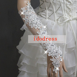 Wholesale Swarovski Crystal Wedding Bridal Accessories Girls Women Bridal Gloves Lace Fingerless Rhinestone Long Mittens KH520