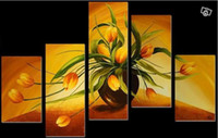 More Panel Oil Painting Abstract Framed 5 Panel 100% Handpainted Amazing High End Large Tulip Oil Painting Feng shui Flower 5 Panel Canvas Art Wall Decor-XD01039