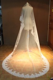 Wholesale In Stock Cheap Lace Bridal Veil meters layer long lace edge ivory white wedding veil