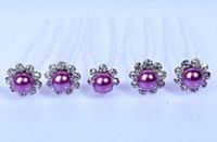Engagement amethyst hair accessories - 20pcs Amethyst Purple Faulse Pearl Rhinestone Hair Pins Bridal Prom Jewelry Crystal Hair Pin Accessories