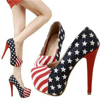 Wholesale 14cm Sexy Party Pumps Shoes American Flag Stiletto platform High Heels P