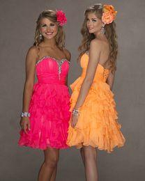 Wholesale 2013 Corset Ruffle Chiffon Short Homecoming Prom Dresses Shiny Crystals Beaded Fuchsia Orange Chiffon A Line Beautiful Cheap Girls Dresses